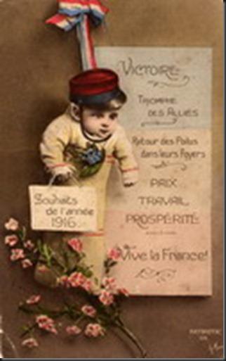 Mes meilleurs voeux de bonheur et de bonne santé pour 1916.   Georges Bussy